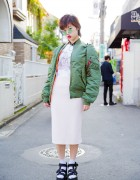Alpha Industries Bomber Jacket, Midi Skirt & K3 Sandals in Harajuku