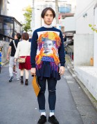 Yoshio Kubo Fringe Sweatshirt, MCM Clutch & Kids Love Gaite Shoes in Harajuku