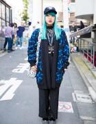 Harajuku Girl w/ Aqua Hair, Knit Coat, Lace Top, Tattoo Necklace & Plush Bag
