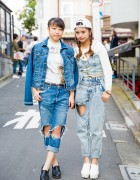 Harajuku Girls w/ Braided Hair in Denim Outfits w/ Fig&Viper, Bershka, Chanel, Zara & Sango Items