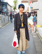 Harajuku Girl in Draped Jacket, Tassel Necklace & Japanese Flag Bag