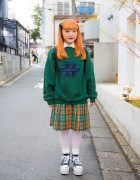 Harajuku Girl w/ Orange Hair, Oversized Sweatshirt, Plaid Skirt & Platform Converse