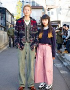 Harajuku Girl w/ Dip Dye Hair & Wide Pants vs Guy in Ralph Lauren & Corduroy Pants