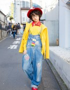 P from Tempura Kidz in Harajuku w/ Hat, Glasses, Bow Tie & Overalls