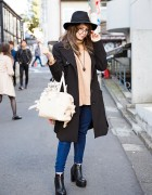 Yuriko Tiger in Harajuku w/ Black Coat, Mecury Duo & Samantha Thavasa