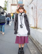 Panda Ear Muffs, Oversized Hoodie, Plaid Skirt & Loafers in Harajuku