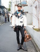 Harajuku Guy in Junya Watanabe Biker Jacket, Helmut Lang, Celine, Neil Barrett, Gerard Sene & Gaultier