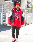 Harajuku Girl in Chicago Bulls Bomber Jacket, Adidas & Air Jordans