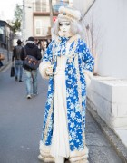 Shironuri Minori in Blue & White Fashion w/ Faux Fur & Small Cat