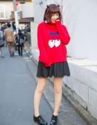 Cherry Print Candy Stripper Sweater & Cherry Earrings in Harajuku