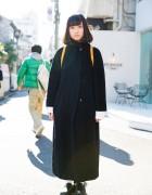 Harajuku Girl in Black Maxi Coat, Loewe Backpack & Sankaku Loafers