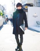 Harajuku Guy w/ Yohji Yamamoto Clutch, Adposion, Grand Global Design & Dr. Martens