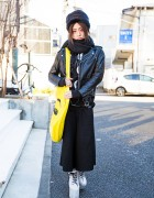 Harajuku Guy in Black w/ Dolls Kill Emoji Bag, YRU Platforms & Vivienne Westwood