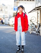 Harajuku Girl in Twin Tails w/ Sukajan Backpack & Denim Overalls