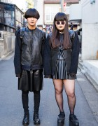 Dark Harajuku Street Styles w/ Handmade Jackets, Faux Leather Skirts & Platforms
