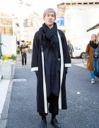 Harajuku Guy w/ Pastel Hair in Black Maxi Coat, Cropped Pants, Brogues & Backpack
