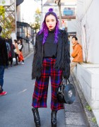 Purple Hair, Fig&Viper Faux Fur Coat, Plaid Pants & G2? Vinyl Record Bag in Harajuku