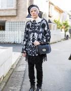 Harajuku Girl in Macrame Top, Safety Pin Beret, Tokyo Bopper Bag & Vivienne Westwood