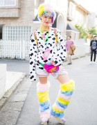Rikarin in Harajuku w/ Colorful Leg Warmers, Cow Print & 6%DOKIDOKI