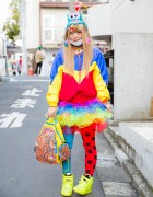 Harajuku Decora Girl in Kinji Ruffle Skirt, The Grawzulz Backpack, Monster Hat & Neon Sneakers
