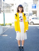 Harajuku Girl in Mickey Mouse T-Shirt, Sheer Skirt & Adidas Backpack