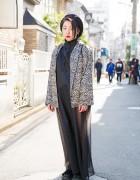 Harajuku Girl in Animal Print Jacket, Faux Fur Slides & Leather Backpack