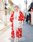 Harajuku Girl w/ Pink Twin Tails in Kimono, Tokyo Bopper Platforms & Gunifuni