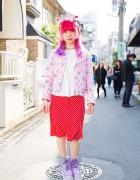 Harajuku Girl w/ Pink & Purple Hair in Milklim, 6%DOKIDOKI, Conpeitou & Yosuke Winged Platforms
