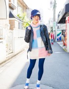 Harajuku Girl in Never Mind the XU Biker Jacket, Malkomalka & Irregular Choice