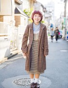 Harajuku Girl w/ Short Pink Hair in Plaid Coat, Resale Fashion & niko and... Bag