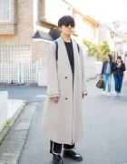 Minimalist Harajuku Style in Edwina Hoerl Maxi Coat, Sasquatchfabrix, Dr. Martens Loafers