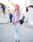 Pink Hair, Japanese Souvenir Jacket, Pajama Pants & Tokyo Bopper Bag in Harajuku