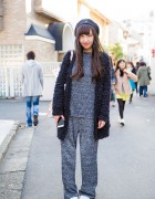 Harajuku Girl in Matching Knit Top & Knit Pants, Kangol Beret & Adidas Stan Smith Sneakers