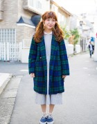 Harajuku Girl w/ Twin Tails in Midi Dress, Plaid Coat, Backpack & Sneakers