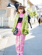 Harajuku Girl in Souvenir Jacket, Kobinai Pants, Camisole & Little Sunny Bite Bag