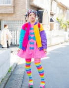 Harajuku Decora Girl in Colorful Bows w/ ACDC Rag, 6%DOKIDOKI, Mikansei & Spinns