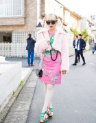 Harajuku Girl in Cropped Faux Fur Coat w/ Vivienne Westwood, Chanel, Irregular Choice