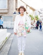 Vintage-Loving Harajuku Girl in Gunifuni Jacket, Patchwork Bag & Retro Sneakers