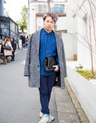 Harajuku Guy in Denim Shirt, Tweed Coat, Clutch & New Balance Sneakers