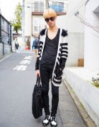 Harajuku Guy in Roen Cardigan, Helmut Lang Skinny Jeans, Comme des Garcons Bag, Dior Homme Brogues & Givenchy Sunglasses