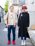 Harajuku Girl in Stylenanda, Bershka Jeans & Lowrys Farm Sandals vs. Harajuku Guy in Bomber Jacket & Nike Sneakers