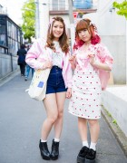 Harajuku Girls in Pink w/ Dip Dye, Hair Ribbons, Candy Stripper, Liz Lisa, Nadia & WEGO
