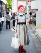 Harajuku Designer w/ Pink Hair in Tricot Comme des Garcons Dress, Zucca & Tokyo Bopper