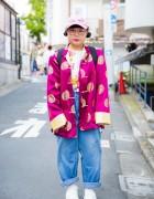 Harajuku Girl in Cap & Twin Buns w/ San to Nibun Ichi Fashion & Tokyo Bopper Platforms