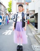 Harajuku Girl in Punyus Outfit w/ Bomber Jacket, Tulle Skirt & Flatforms