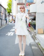 Pink-haired Harajuku Girl in Vintage Lingerie, Nadia Skirt & Eat Me Comic Bag