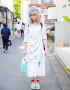 Harajuku Girl San to Nibun No Ichi Long Shirt, Kinji Skirt & Reebok ZPump Sneakers