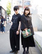 Harajuku Duo in Black Fashion w/ Gucci, Uniqlo, Dr. Martens, Saint Laurent Paris & Resale Items