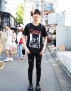 Harajuku Guy in Misfits T-Shirt & Uniqlo Ripped Jeans
