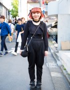 Harajuku Girl in Black Overalls, WEGO Mary-Janes, Lace Choker & [me] Jewelry